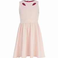 Girls pink cut out skater dress