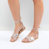 ASOS FOLLOW YOU Wide Fit Suede Tie Leg Sandals at asos.com