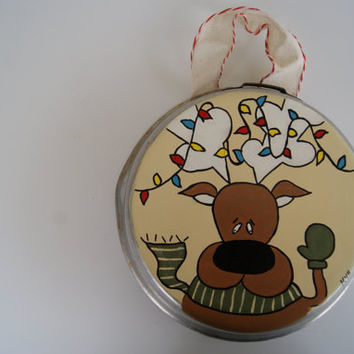 Reindeer Decor ~ Hand Painted Pan Christmas Decoration ~ Christmas Reindeer With Christmas Lights