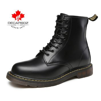 Men boots ,DECARSDZ ankle boots men, waterproof men boots with lace-up and zip for motorcycle/work/indoor/outdoor.Casual shoes