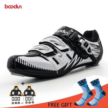 Boodun Cycling Road Shoes Breathable Wear-Resisting Riding Athletic Racing Self-Locking Bike Bicycle Shoes Zapatillas Ciclismo