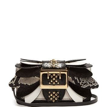 Buckle small snakeskin, ostrisch and leather bag | Burberry | MATCHESFASHION.COM US