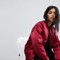 adidas Bomber Jacket With Back Branding In Burgundy at asos.com