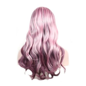 Angie Wavy Pink Burgandy Synthetic Wig