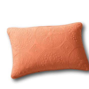 Tache Tuscany Sunrise Solid Orange Cotton Matelassé Floral Standard Sham Pillow Cover 1PC (JHW-595-SHAM)