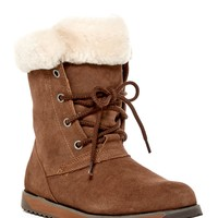 Shaw Lo Genuine Sheep Fur Lace-Up Boot