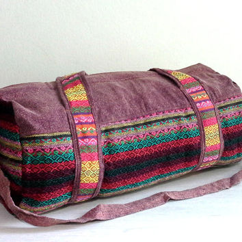 Hippie Weekender bag, Lightweight travel bag, Hippie overnight bag, Handmade cotton sports gym bag, Small Size Cute Duffle bag, Gift ideas