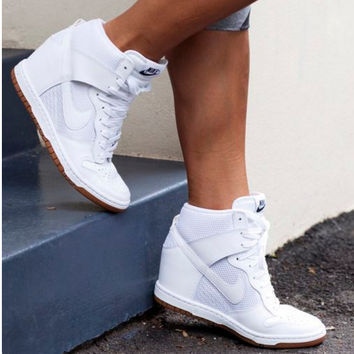 NIKE Hidden Heel Charm High Boots Height Increasing Women Sneakers Shoes White