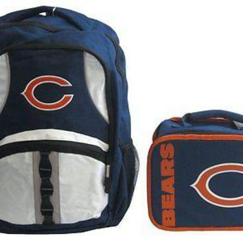 Chicago Bears Football Captain Backpack & Sacked Lunch Box Bag SchoolSet