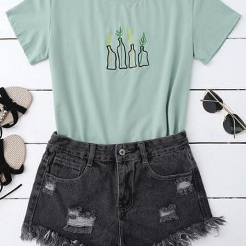 Plant Mom Embroidered Tee