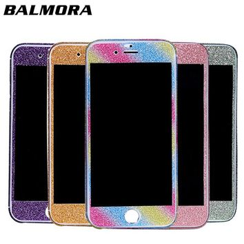 BALMORA Glitter Sticker For iPhone 6 7 8 Plus Bling Phone Protective Sticker For iPhone X 360 Degree Full Body Decal Skin Wrap