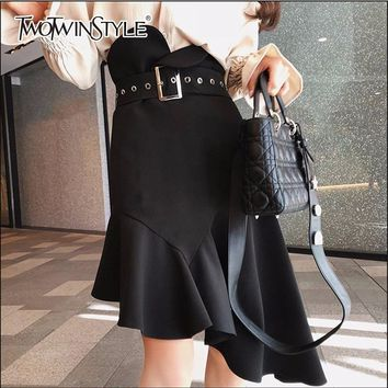 TWOTWINSTYLE Mermaid Skirt For Women Tunic High Waist Ruffles Bodycon Asymmetrical Skirts Female Spring Sexy OL Clothing 2018