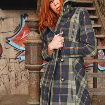 Plaid wool coat, womens coat in alpine green with toggles
