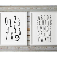 Nursery Alphabet, Numbers Print, ABC Print, Alphabet Printable, Black White Nursery, Scandinavian Nursery, Playroom Printable, Children Art