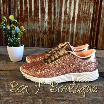 Glitter Glam Tennis Shoes - Rose Gold