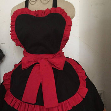 Red French Maid Apron Ruffles Hostess Barmaid Retro Inspired Adult Fun Birthday Gift Sexy Frilly Ruffled Apron Adult Entertaining BBQ Party