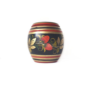 Folk Art Jar / Wood Bauble / Ethnic Decorative Strawberry Home Accent / Red Gold and Black Vintage Souvenir / Regency Details