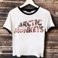 Floral Artic Monkeys Bands Ringer Tee