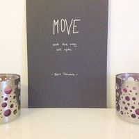 Move and the way will open - silver on black - DIN A4 - Zen Wall Art Print handmade written - original by misssfaith
