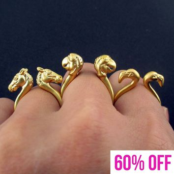 3D Spirit Animal Rings in the Shape of Flamingo Parrot and Horse in Gold