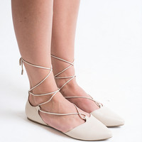 Skip To It Beige Tie Up Flats
