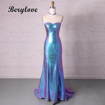 BeryLove Blue Mermaid Prom Dresses 2018 Long Strapless Evening Dresses Style Women Graduation Dresses Formal Evening Gowns