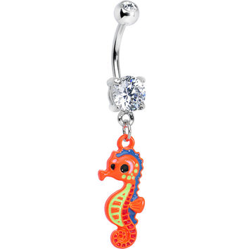 Clear Gem Adorable Orange Baby Seahorse Dangle Belly Ring