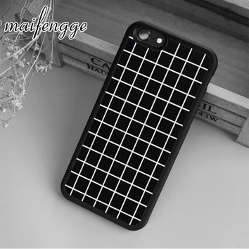 maifengge Black Tumblr Grid Case For iPhone 6 6S 7 8 Plus X 5 5S SE Case cover for Samsung S5 S6 S7 edge S8 Plus shell