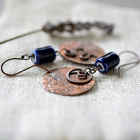 Long copper earrings - dark brown blue earrings - handmade artisan jewelry - boho rustic by Alery