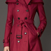 Caped Gabardine Trench Coat