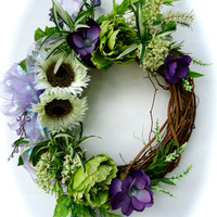Natural Grapevine Wreath with White Sunflowers, Green and Purple Flowers- Silk floral Summer Wreath, Front Door Wreath
