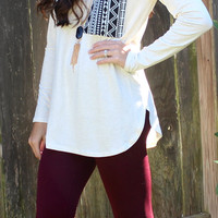 Aztec Pocket Top - Oatmeal