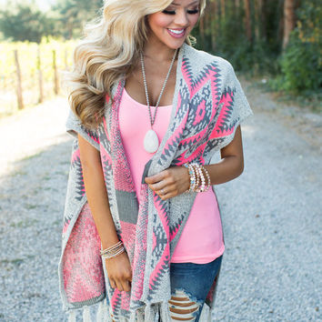 Happy For You Aztec Poncho Pink