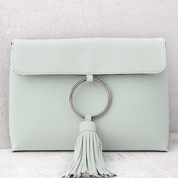 Next Big Thing Mint Tassel Clutch