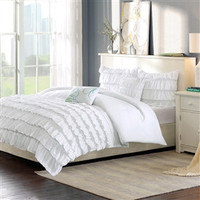Full/Queen 5-Piece White Comforter Set w/ 2 Shams & 2 Decorative Pillows