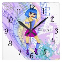Dancing fashion illustration with bright blue hair square wall clock