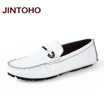 Mens Loafers Genuine Leather Slip On Men Flats Shoes Casual Men Shoes Fashion Driving Loafers Shoes