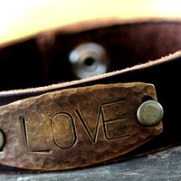 Rustic, Artisan Style Customized Bracelet cuff Great gift for men or women -customized gift for him or for her