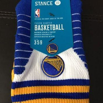 Stance Fusion NBA Golden State Warriors Logo QTR Mens Socks 359 Small 3-5.5 $24