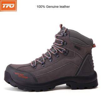 TFO Men Hiking Shoes Boots 100% Genuine leather Camping Climbing Shoes Sneakers Breathable Mountain Boots Waterproof Shoes