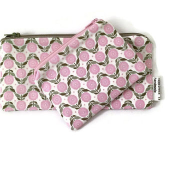 Matching Pouch Set -  Gift Set - Pink Floral Pouch - Cosmetic Case - Coin Purse - Pink Pouch Set - Makeup Bag - Zip Wallet -Gift For Her