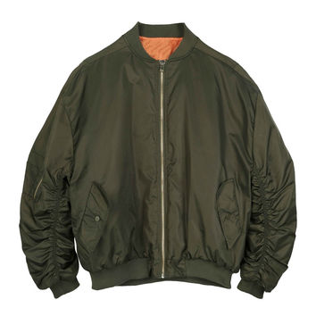 Army Green Satin Bomber