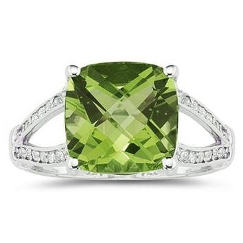 Cushion Cut  Peridot and Diamond Ring 10k White Gold
