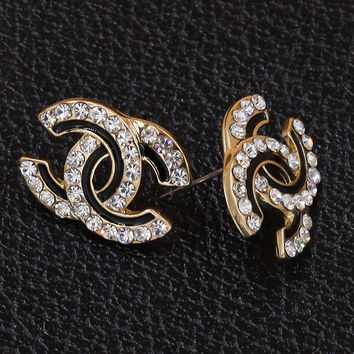 Limited Edition Gold with Black Crystal Plated CC Stud Earring with Clear White Crystal