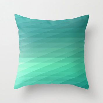 "16""x16"" Mint Green Geometric Striped Throw Pillow COVER ONLY"