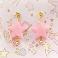 Soft Pastel Pink Star Earrings Gold Ball Post Dangle Pink Pearl Kawaii Sweet Lolita Fairy Kei Jewelry