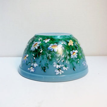 "Blue Mixing, Casserole Bowl, Hand Painted, ""My Garden"", Original Design Daisies"