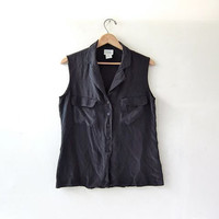 silk tank top / silk blouse / sleeveless button up silk top