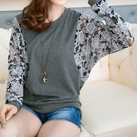 Deep Gray Long Floral Mesh Sleeve T-Shirt