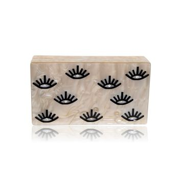 Evil Eye Lash Acrylic Box Clutch